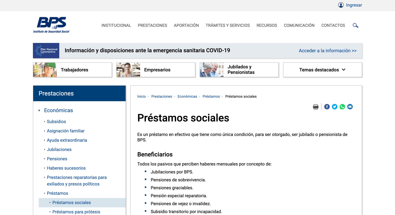 BPS - Préstamos sociales